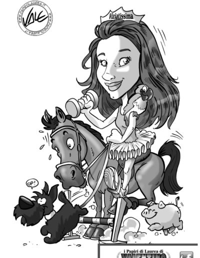 2- caricatura-papiro-laurea-ragazza-cavallo-cane-maiale-reginetta-fashion