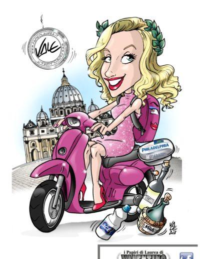 9-caricatura-laurea-papiro-colore-scooter-roma-ragazza-bionda